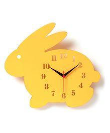 Bunny Modern Wall Clock - Yellow