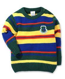 Babyhug Round Neck Sweater Stripes - Green Yellow