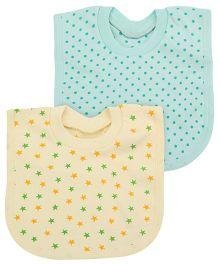 Babyhug T-Shirt Style Bib Set of 2 - Yellow And Mint Green