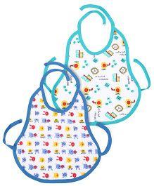 Babyhug Tie Up Bib Multi Print Pack Of 2 - Aqua And Sky Blue