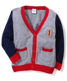 Babyhug Button Up Sweater Number Patch - Grey Navy Red