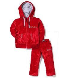 Mickey Hooded Jacket And Pant Set Rhinestone Design - Red