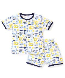 ToffyHouse Short Sleeves Night Suit Fish Print - White And Navy Blue