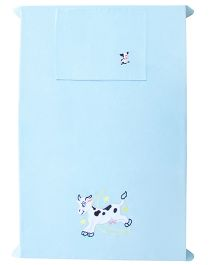 Baby Rap Cow And Moon 1 Cot Sheet With 1 Pillow Cover Set - Baby Blue