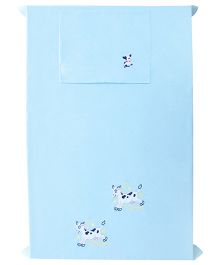 Baby Rap 2 Cows And Moon 1 Cot Sheet With 1 Pillow Cover Set - Blue