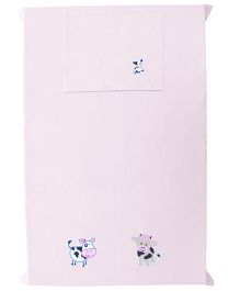 Baby Rap The Cow Couple 1 Cot Sheet And 1 Pillow Cover Set - Baby Pink