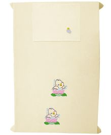 Baby Rap Duck In Flower 1 Cot Sheet And 1 Pillow Cover Set - Lemon