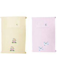 Baby Rap Cows And Ducks Cot Sheets With Pillow Covers Set - Pink Lemon