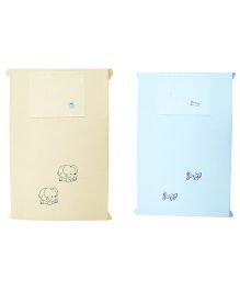 Baby Rap Aeroplane And Elephants 2 Cot Sheets With 2 Pillow Covers - Blue Lemon