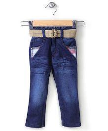 Babyhug Full Length Denim Jeans With Belt - Dark Blue