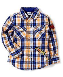 Babyhug Full Sleeves Checkered Shirt - Yellow & Blue