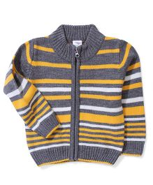 Babyhug Striped Zip Up Sweater - Grey Yellow