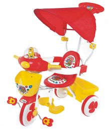 Funride Honey Bee Tricycle With Canopy - Red And Yellow