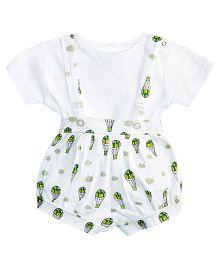 Chic Bambino Dungaree With Tee - White & Green