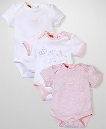 Pumpkin Patch Short Sleeves Kittens Bodysuits Pack of 3 - Pink
