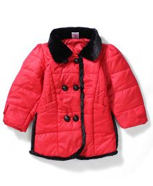 Babyhug Detachable Fur Collar Jacket - Red