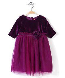 Beebay Shimmer Net Party Dress - Purple