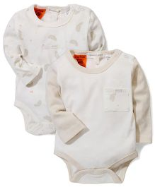 Pumpkin Patch Full Sleeves Feather Bodysuits Pack of 2 - Cream
