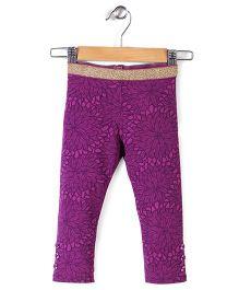 Pumpkin Patch Leggings Flower Print - Purple
