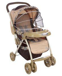 Baby Pram Cum Stroller Check - Print Cream