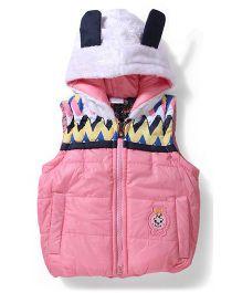 Babyhug Sleeveless Hooded Jacket - Pink