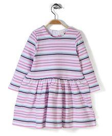 Pumpkin Patch Long Sleeves Stripe Dress - Pink And Purple