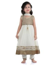 Babyhug Embroidered Kurta Churidar Set - Off White