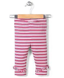 Pumpkin Patch Three Fourth Length Stripe Leggings - Pink