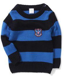 Babyhug Full Sleeves Striped Sweater - Blue & Black