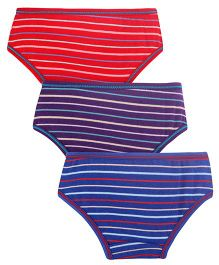Red Rose Stripe Print Panties Set Of 3 - Red Blue Purple