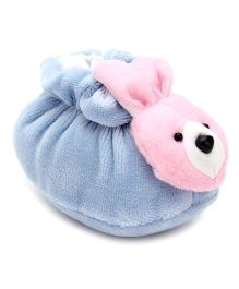 Cute Walk Booties Rabbit Face Motif - Blue And Pink