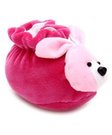 Cute Walk Booties Rabbit Face Motif - Dark Pink