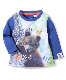 Pumpkin Patch Full Sleeves T-Shirt Bear Print - Blue