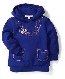 Pumpkin Patch Hooded Sweatshirt Shimmer Print - Royal Blue