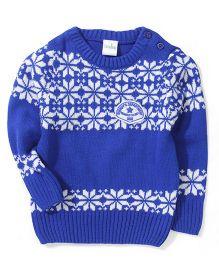 Babyhug Designer Pullover Sweater - Royal Blue & White