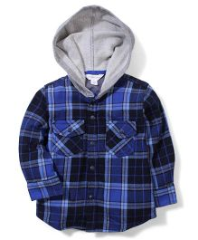 Pumpkin Patch Hooded Check Shirt - Blue