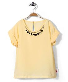 Chic Girls Roll Up Sleeves Top - Lemon Yellow