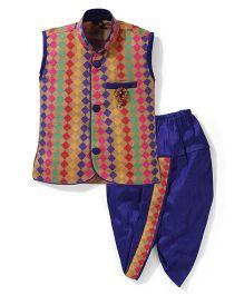 Babyhug Multi Colour Kurta And Dhoti Set With Diamond Brooch - Dark Blue