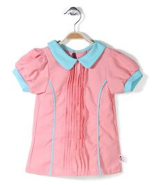 Chic Girls Peter Pan Collar Top - Pink And Aqua Blue