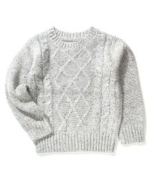 Sela Full Sleeves Knit Sweater - Light Grey