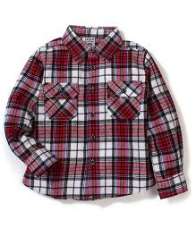 Sela Full Sleeves Checks Shirt - Red And Black