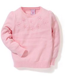 Sela Full Sleeves Flower Design Sweater - Light Pink