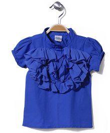 Babyhug Solid Color Ruffled Top - Royal Blue
