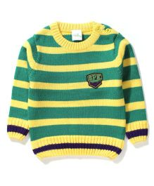 Babyhug Full Sleeves Sweater SPK Patch - Green Yellow