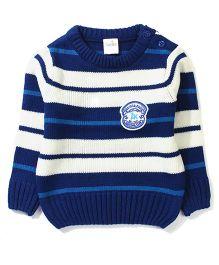 Babyhug Full Sleeves Sweater National Club Patch - Royal Blue White