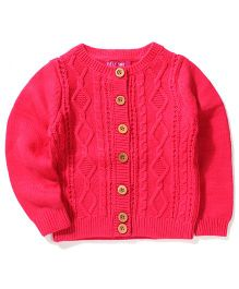 Sela Full Sleeves Knit Cardigan - Fuchsia