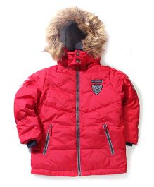 Sela Hooded Zip Up Jacket Lion Face Patch - Red