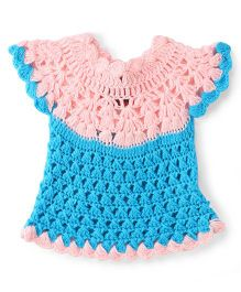 Rich Handknits Cap Sleeves Woolen Dress - Pink And Blue