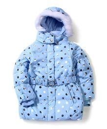 Sela Full Sleeves Hooded Jacket Polka Dot Print - Light Blue