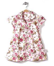 Little Fairy Collar Neck Frock Rose Print - Light Pink